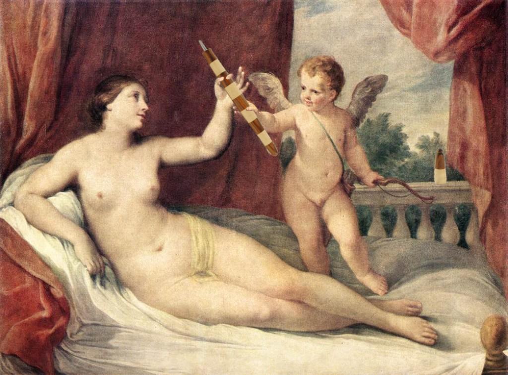 Reni, Guido (1575-1642) - Venus allongee avec Cupidon